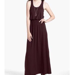 Lush Burgundy Racerback Knit Maxi Dress